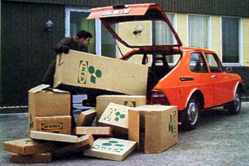 A Saab featured in an Ikea ad courtesy of Saab History