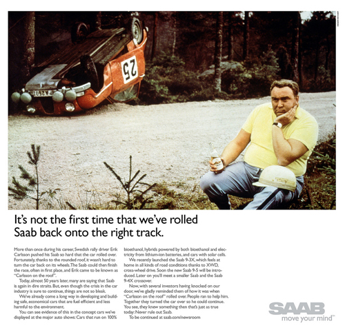 Saab roll over ad