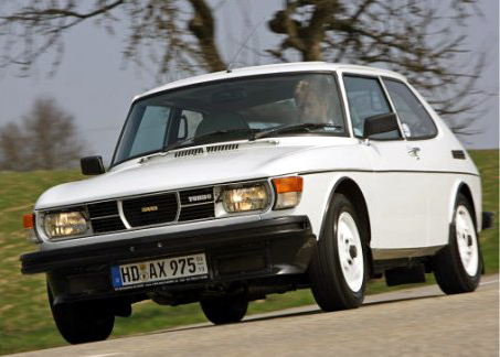 1979 Saab 99 Turbo in White and link to Saab99.net