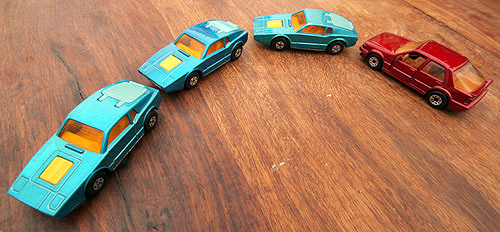 Matchbox toy Saab Sonnets and Saab 9000